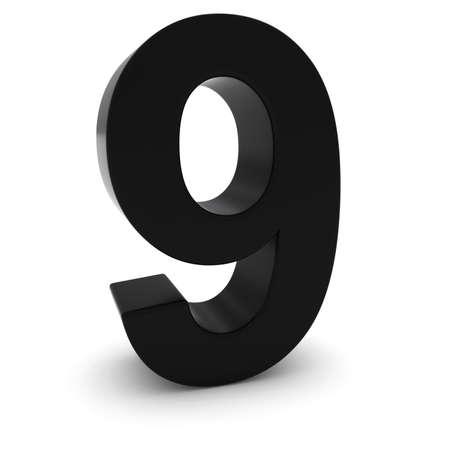 numero nueve: Negro Número Nueve 3D aislado en blanco con sombras