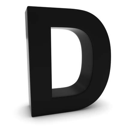 d: Black 3D Uppercase Letter D Isolated on white with shadows
