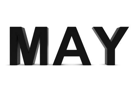 month 3d: MAY Black 3D Text - May Month Abbreviation on White