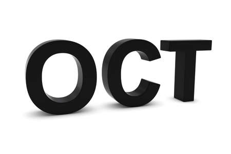 month 3d: OCT Black 3D Text - October Month Abbreviation on White