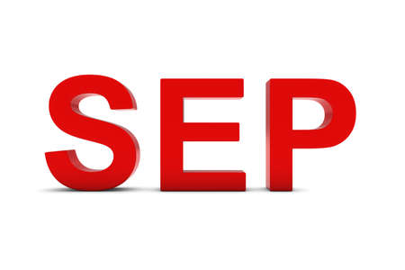 sep: SEP Red 3D Text - September Month Abbreviation on White