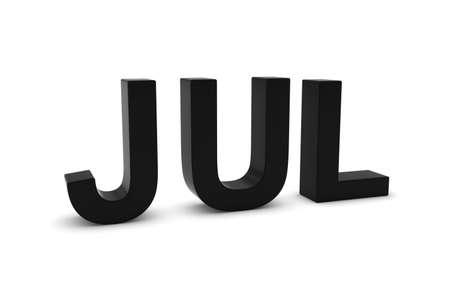 month 3d: JUL Black 3D Text - July Month Abbreviation on White