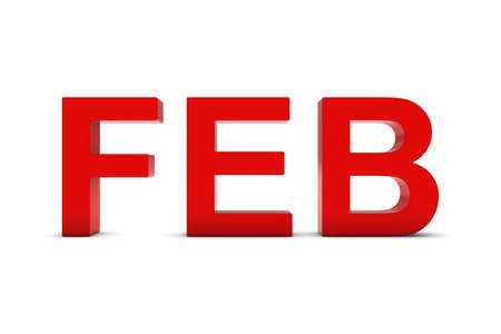 abbreviation: FEB Red 3D Text - February Month Abbreviation on White Stock Photo
