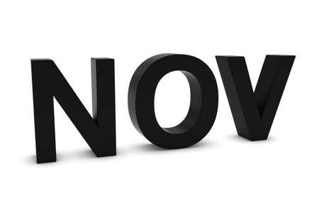 nov: NOV Black 3D Text - November Month Abbreviation on White
