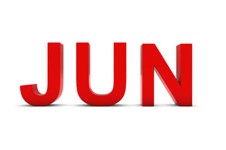abbreviation: JUN Red 3D Text - June Month Abbreviation on White Stock Photo