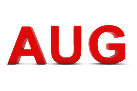 abbreviation: AUG Red 3D Text - August Month Abbreviation on White