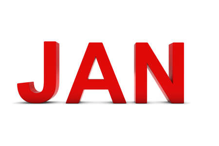 month 3d: JAN Red 3D Text - January Month Abbreviation on White Stock Photo