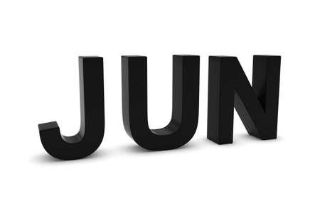 month 3d: JUN Black 3D Text - June Month Abbreviation on White