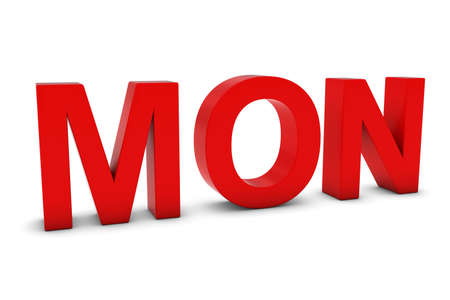 weekday: MON Red 3D Text - Monday Abbreviation Isolated on White