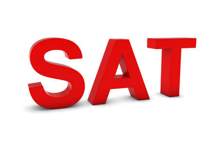 sat: SAT Red 3D Text - Saturday Abbreviation Isolated on White Stock Photo