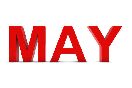 month 3d: MAY Red 3D Text - May Month Abbreviation on White