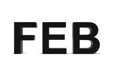 month 3d: FEB Black 3D Text - February Month Abbreviation on White