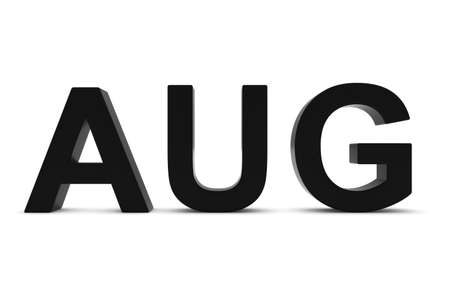 month 3d: AUG Black 3D Text - August Month Abbreviation on White