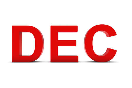 abbreviation: DEC Red 3D Text - December Month Abbreviation on White Stock Photo