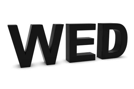wed: WED Black 3D Text - Wednesday Abbreviation Isolated on White