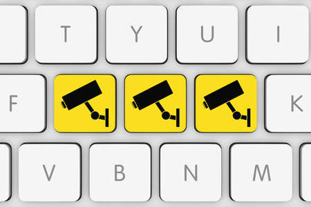 cctv camera: CCTV Camera Icons on White Computer Keyboard Stock Photo