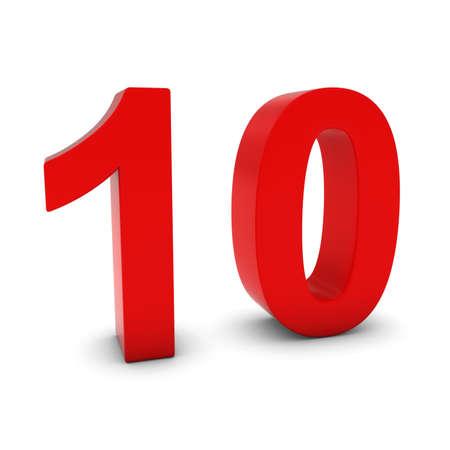 numero diez: N�mero rojo 3D Ten aislado en blanco con sombras Foto de archivo
