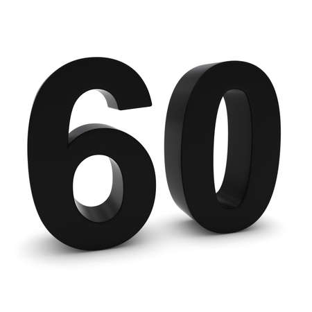 sixty: Black 3D Number Sixty Isolated on white with shadows