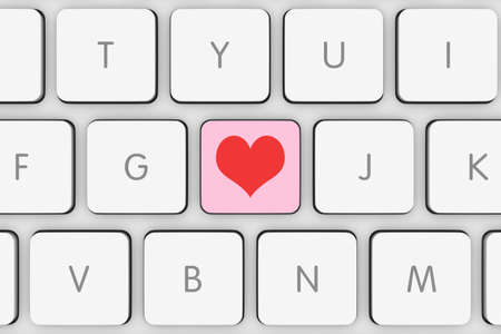 computer key: Pink and Red Love Heart Computer Key on White Keyboard