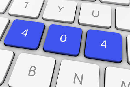 not found: Blue 404 Page Not Found Computer Keys on White Keyboard