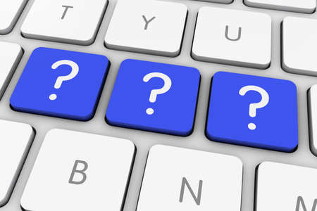 interrogativa: Signo de interrogaci�n azul Icon claves de ordenador en el teclado blanco