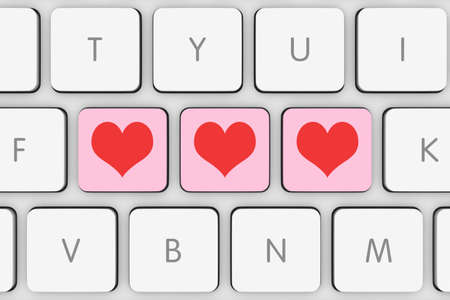computer keys: Pink and Red Love Hearts Computer Keys on White Keyboard Stock Photo