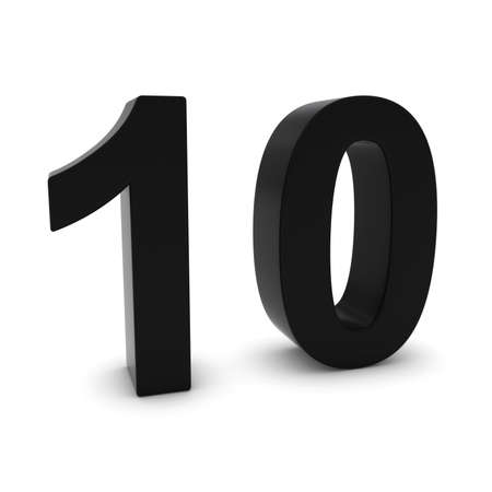 number ten: Black 3D Number Ten Isolated on white with shadows Stock Photo
