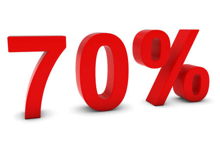 seventy: 70% - Seventy Percent Red 3D Text Isolated on White Stock Photo