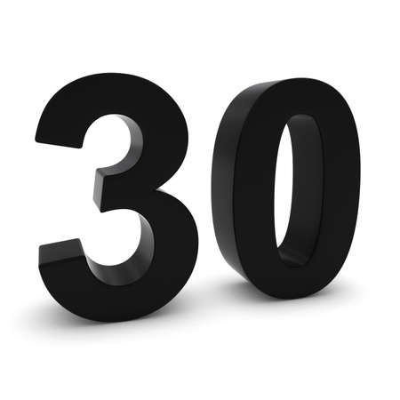 thirty: Black 3D Number Thirty Isolated on white with shadows