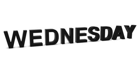 wednesday: WEDNESDAY Black 3D Text Isolated on White with Shadows