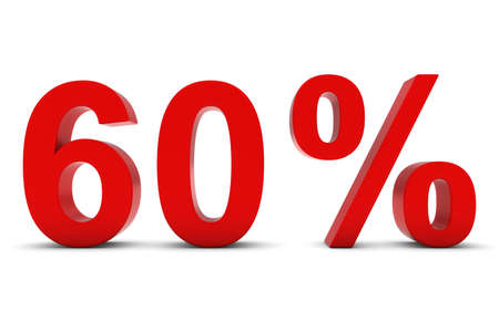 60: 60% - Sixty Percent Red 3D Text Isolated on White Stock Photo