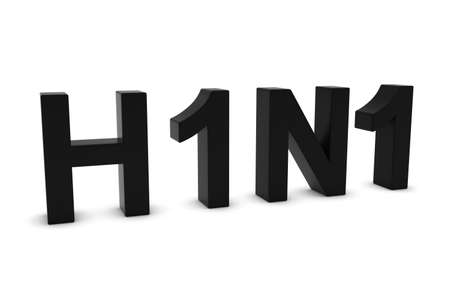h1n1: H1N1 Flu Black 3D Text Isolated on White with Shadows