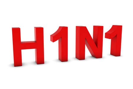 h1n1: H1N1 Flu Red 3D Text Isolated on White with Shadows Stock Photo