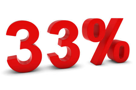 thirty: 33% - Thirty Three Percent Red 3D Text Isolated on White Stock Photo