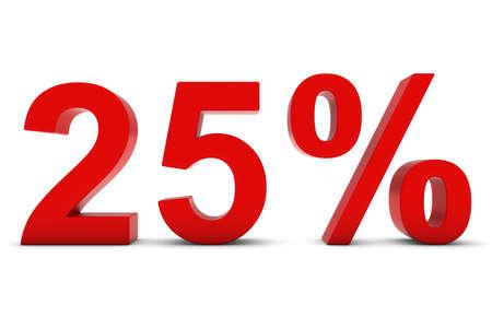 twenty five: 25% - Twenty Five Percent Red 3D Text Isolated on White