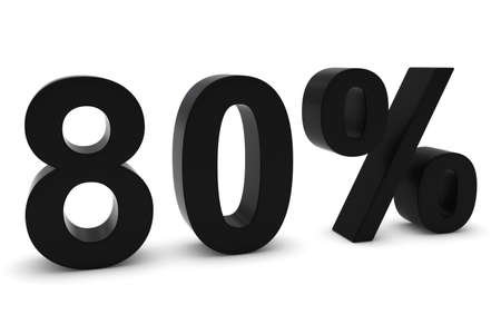 80: 80% - Eighty Percent Black 3D Text Isolated on White