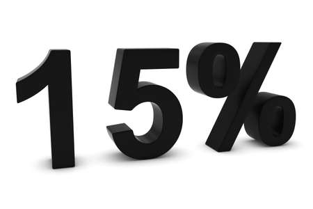 15: 15% - Fifteen Percent Black 3D Text Isolated on White Stock Photo