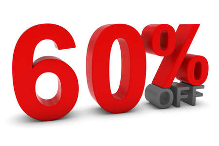 sixty: 60 OFF - Sixty Percent Off 3D Text in Red and Grey