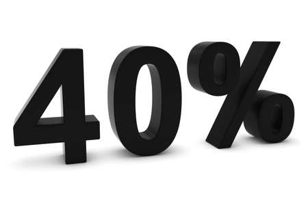 forty: 40% - Forty Percent Black 3D Text Isolated on White