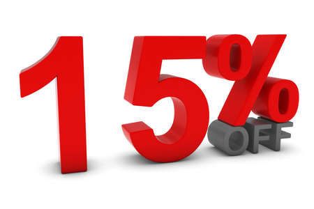 fifteen: 15% OFF - Fifteen Percent Off 3D Text in Red and Grey Stock Photo