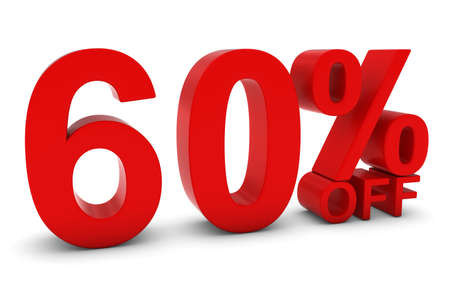 60 OFF - Sixty Percent Off 3D Text in Red 版權商用圖片