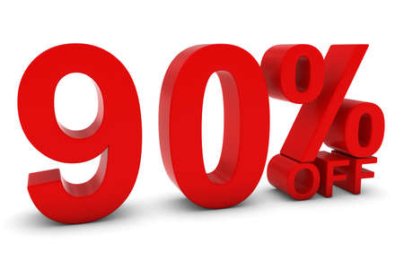 90: 90% OFF - Ninety Percent Off 3D Text in Red