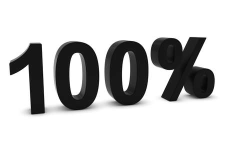one hundred: 100% - One Hundred Percent Black 3D Text Isolated on White