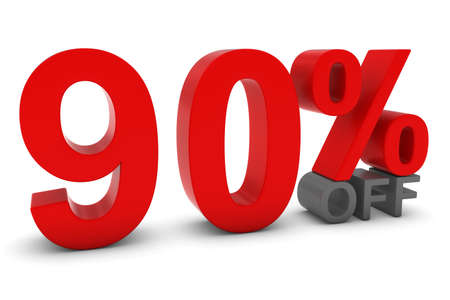 90: 90% OFF - Ninety Percent Off 3D Text in Red and Grey