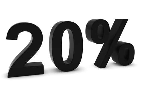 the twenty fifth: 20% - Twenty Percent Black 3D Text Isolated on White