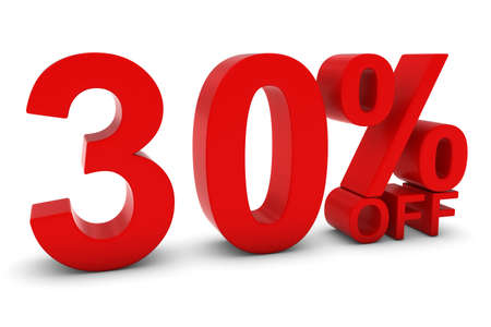 thirty percent off: 30% OFF - Thirty Percent Off 3D Text in Red