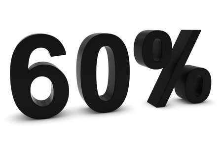 60: 60% - Sixty Percent Black 3D Text Isolated on White