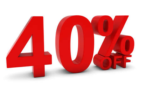 40: 40% OFF - Forty Percent Off 3D Text in Red