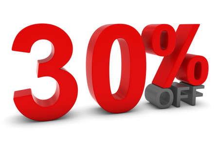 thirty percent off: 30% OFF - Thirty Percent Off 3D Text in Red and Grey