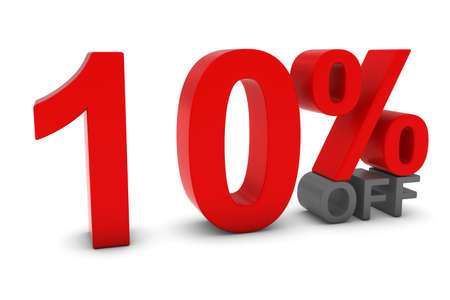 reduced: 10% OFF - Ten Percent Off 3D Text in Red and Grey Stock Photo